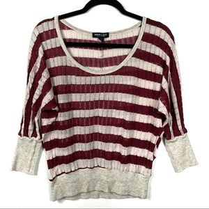About A Girl XL Burgundy & Cream Stripe Loose knit